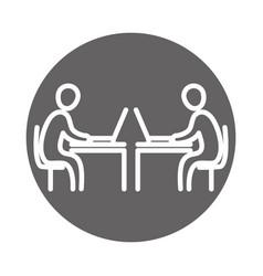 business people using laptop in desks vector image