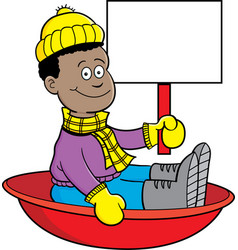 Cartoon african american boy sitting in a sled vector