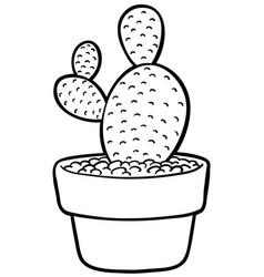 cartoon bunny ears cactus on pot line art vector image