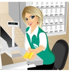 Cashier giving a credit card in the supermarket vector
