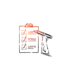 Checking to-do list planning activities concept vector