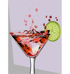 Cocktail and lime vector