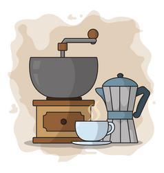 coffee grinder and kettle vector image