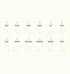 Collection twelve constellations zodiac vector
