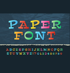 Color paper alphabet funny cartoon holiday font vector