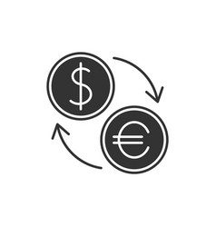 Currency exchange black icon vector