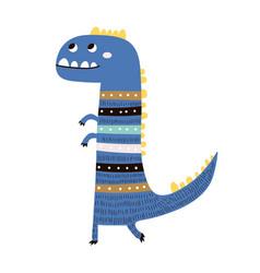 Cute hand drawn blue dinosaur cartoon super hero vector