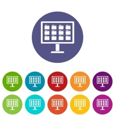 Desktop of computer with folders set icons vector image