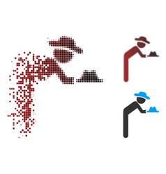 Disappearing pixel halftone gentleman servant icon vector