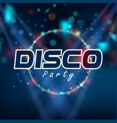 Disco party circle frame blue background im vector