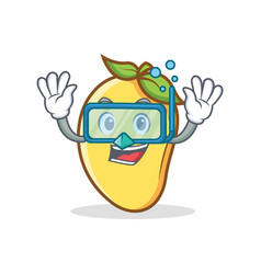 Diving mango character cartoon mascot vector