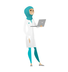 Doctor using laptop vector