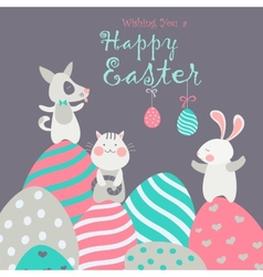 Easter animals with easter eggs vector
