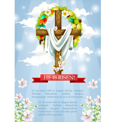 easter crucifix cross and christ shroud vector image