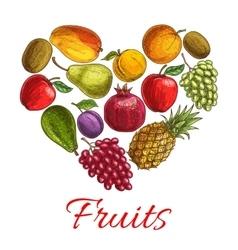 Fruit heart sketch poster for drinks food design vector image vector image