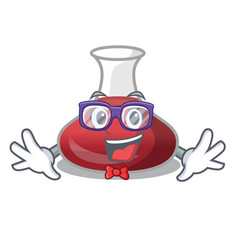 Geek delicious red wine with cartoon decanter vector