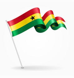 Ghana pin wavy flag vector
