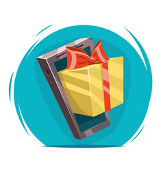 Giftbox with bow mobile phone win present cartoon vector