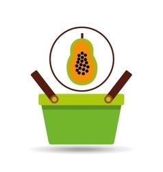 green basket fresh papaya design icon vector image