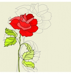 greeting card with rose flower vector image
