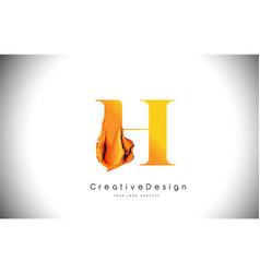 h orange letter design brush paint stroke gold vector image