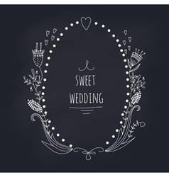 Hand drawn wedding wreath on chalkboard vector image