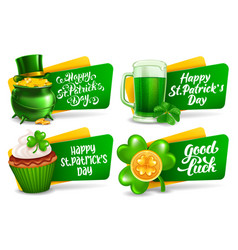 happy saint patricks day festive labels or badges vector image