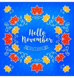Hello November modern card Autumn background vector