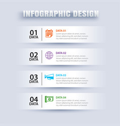 infographics tab in horizontal paper index with 4 vector image