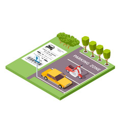 isometric car parking zone 3d vector image
