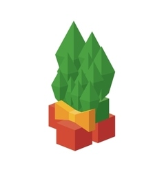 Isometric christmas pine with bowtie design vector