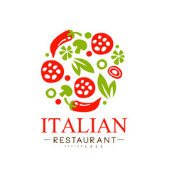 Italian restaurant logo design authentic vector