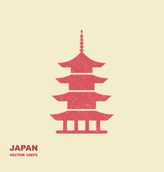 japan architecture symbol pagoda flat icon vector image
