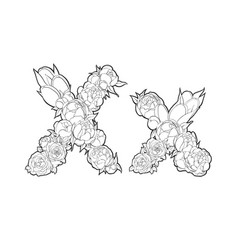 Letter x made of flowers vector