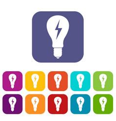 Light bulb with lightning inside icons set flat vector