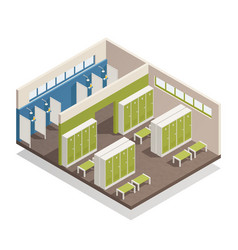 Locker dressing room isometric composition vector