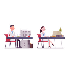 Male and female scientist working at desk vector