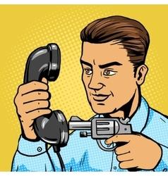 Man aim gun to handset pop art vector