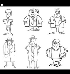 man characters cartoon black and white set vector image