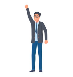 man in official suit holds hand up success symbol vector image