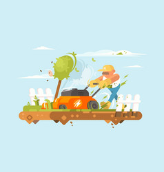 man mowing grass vector image