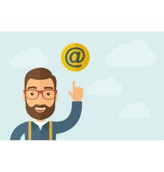 Man pointing the e mail internet icon vector image