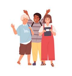 modern schoolchildren waving hands and saying bye vector image