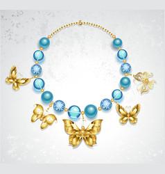 Necklace of golden butterflies vector