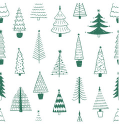 new year trees hand drawn seamless pattern vector image