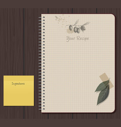 notebook and olives hand drawn sketch-01 vector image