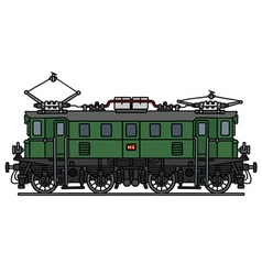 Old green electric locomotive vector