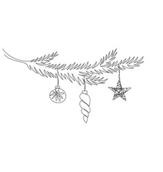 one line christmas tree branch with christmas toys vector image