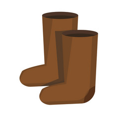 Pair retro russian style felt boots isolated vector