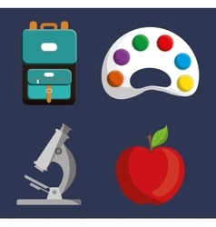 Palette microscope apple bag icon vector